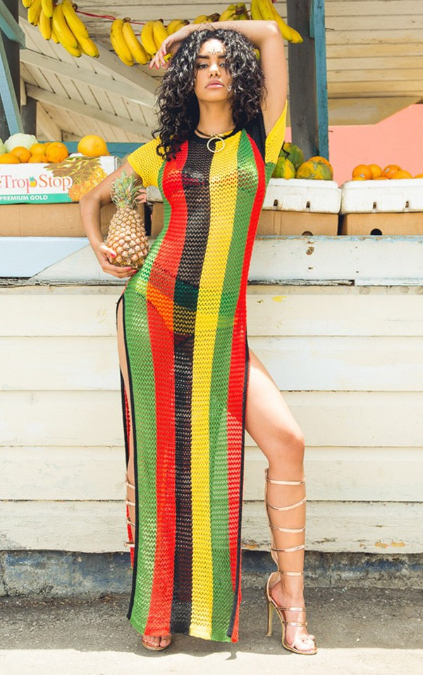 Dress Jamaican Color Side Split Side Split Maxi Dress
