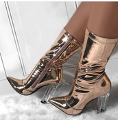 shoes,matelic,boots,heel,heels,ankle boots,gold boots