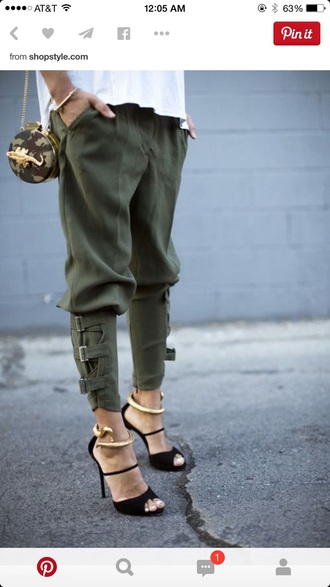 pants hunter green baggy pants green pants