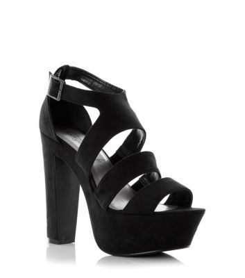 Black Chunky Ankle Strap Platform Heels
