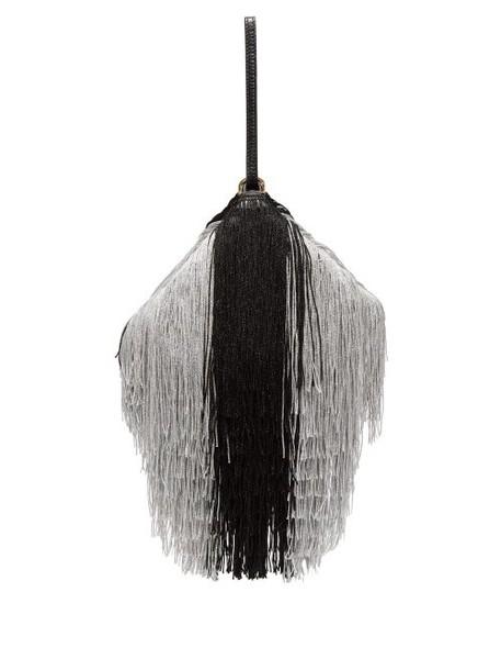Hillier Bartley - Lantern Tassel Embellished Leather Clutch - Womens - Black Silver