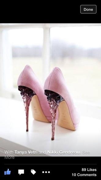 shoes pink heels unique heel high heel pumps high heels