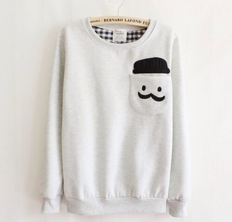 sweater white mustache menswear we heart it bernard lafond pocket