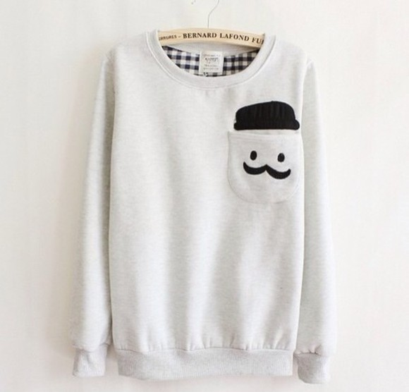 sweater white, black, mustache, man, need, sweater, we heart it, bernard lafond, pocket, cute