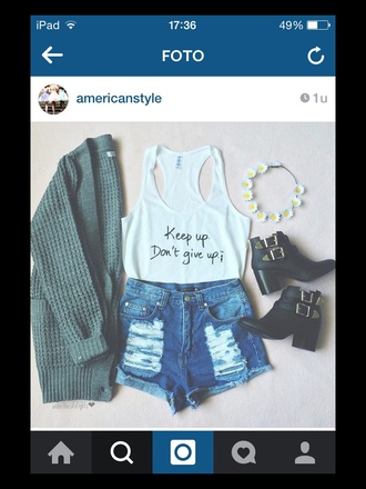 top mint blue short style summer outfit love flowers