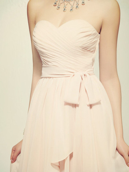 dress pink pleated dress pastel bustier dress necklace jewels ribbon bows formal formal dress prom dress