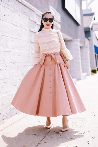 skirt midi skirt blouse lace blouse pumps sunglasses pastel pink skirt blogger blogger style
