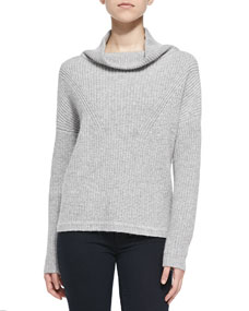Honeycomb-Knit Mock Turtleneck Sweater, Light Gray