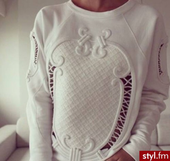 clothes cut-out ornaments pullover white sweater ornamented