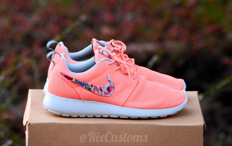 b6786343ee0ca Womens Rare Coral Pink Roshe Run Floral Custom