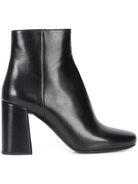 Prada heel women ankle boots leather black shoes