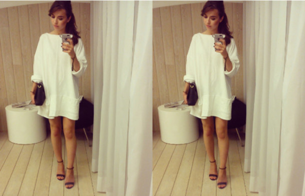 Dress: sweater, white, white sweater, white dress, sweater dress ...