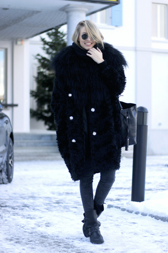 ohh couture blogger jeans shoes bag black coat black boots winter outfits winter coat round sunglasses