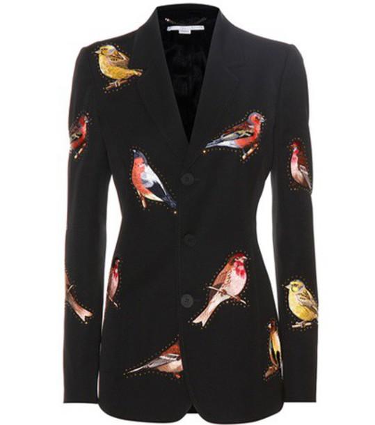 Stella McCartney blazer embroidered wool black jacket