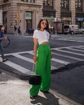 pants,wide-leg pants,flats,bag,white t-shirt,sunglasses,crop tops