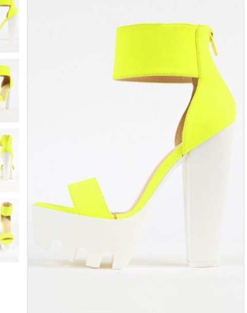 shoes neon yellow heels high heels platform shoes