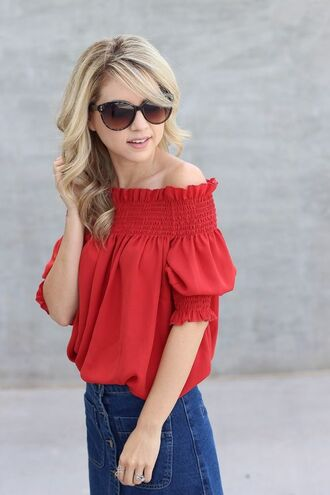 top red off shoulder top red top off the shoulder off the shoulder top skirt denim skirt blue skirt button up denim skirt button up skirt button up red sunglasses