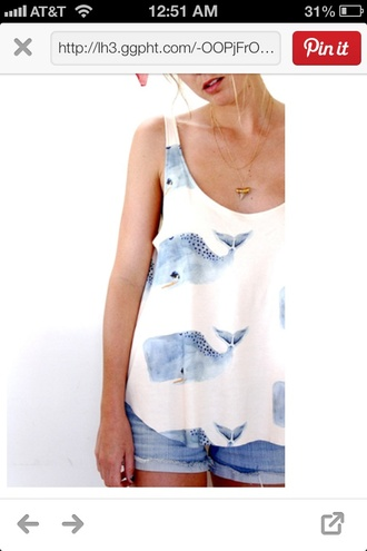 shirt spring whales tank top white blue t-shirt blouse whale white cotton tank top with whales in water color