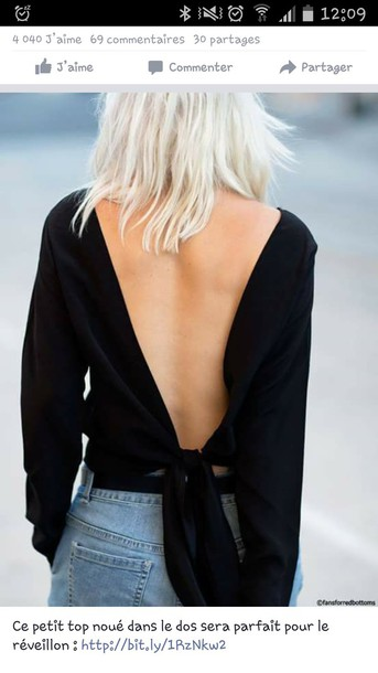 blouse open back black blouse