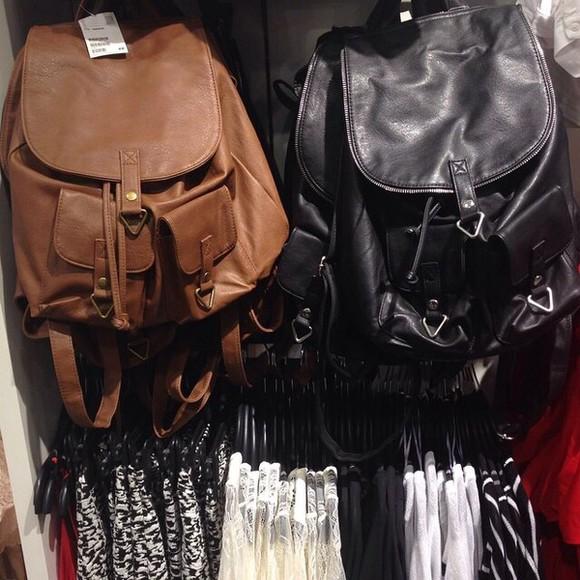 bag black leather leather bag bag pack brown boho hippie