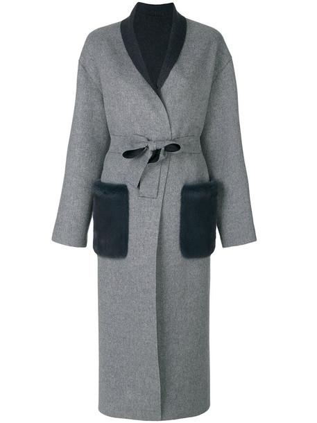 coat oversized fur women wool grey
