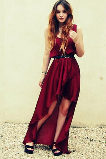 Anomalous Hemline Long Chiffon Dress [FXBI0034] - PersunMall.com