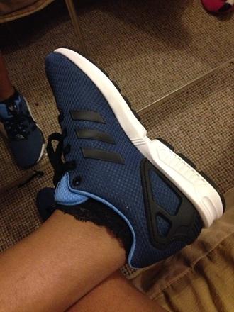 shoes zxflux adidas zx flux blue black white trainers sneakers footasylum