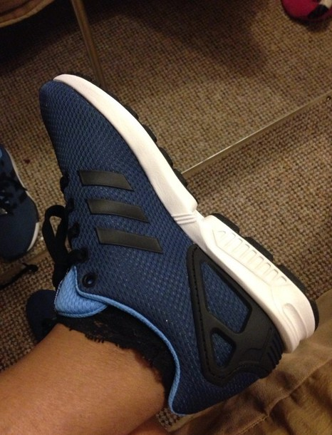 shoes zxflux adidas zx flux blue black white trainers sneakers footasylum