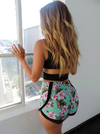 shorts crop tops floral shorts blouse