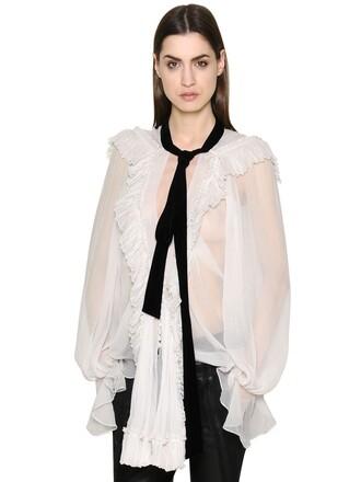shirt bow silk velvet white top