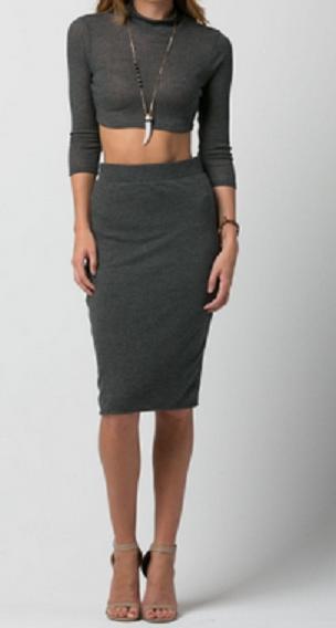 Long sleeve crop top & midi skirt