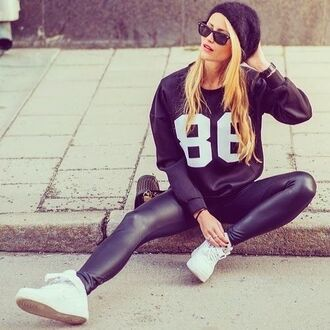 leggings leather leggings leather pants faux leather leggings stretchy thick tights high waisted leggings leather look sweater