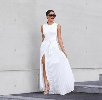 skirt haute rogue maxi skirt slit skirt high waisted skirt white skirt summer skirt wrap skirts pleated skirt pleated white pleated skirt