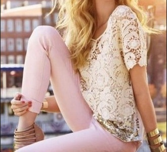 jeans pink light pink exacty these and the shirt white and gold glitter skinny jeans