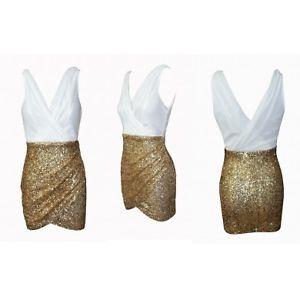 Deep v neck dress chiffon dress gold sequin skirt gold sequin dress mini dress