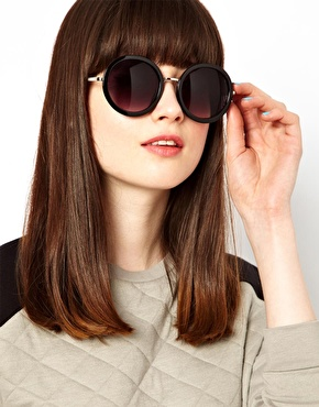 ASOS | ASOS Round Sunglasses With Metal Bridge Detail at ASOS