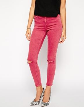 ASOS | ASOS Ridley High Waist Ultra Skinny Ankle Grazer Jeans in Rose Plum with Ripped Knees at ASOS