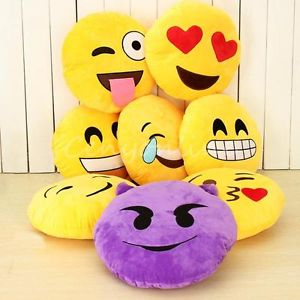 32cm Emoji Smiley Emoticon Yellow Round Cushion Pillow Stuffed Plush Soft Toy