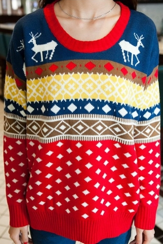 sweater zaful christmas sweater ugly christmas sweater winter sweater aztec tribal pattern hippie warm oversized sweater tumblr
