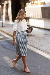 skirt,striped skirt,white blouse,pink mules,embroidered purse,gold bracelet,shoes,nude,suede nude color,suede,suede pumps,pumps,high heel sandals,high heels,high heel pumps,high heel,nude sandals,peach,light pink,light pink shoes,bows,bow,bow heels,summer,spring,spring outfits,summer outfits