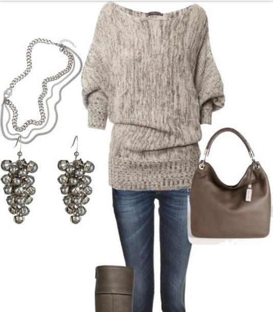 Off The Shoulder Jumper Knitting Pattern : Sweater: long jumper, knit jumper, off shoulder jumper, clothes - Wheretoget