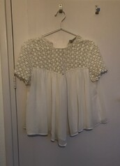 top,shirt,lace,kant,zara,hipster,tumblr,wide,cute,white