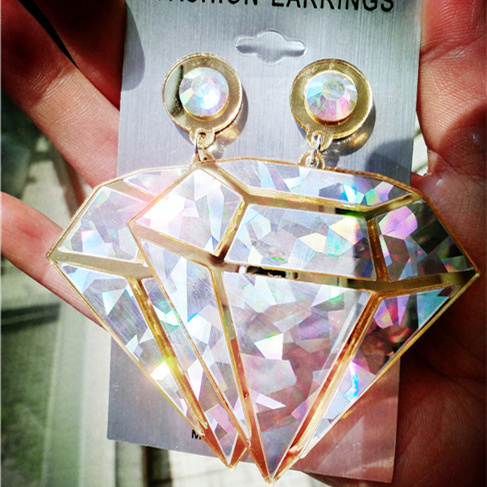 New Fashion Jewelry Women's Earring HIPHOP JAZZ DS Acrylic Laser Drop Earrings Gold&Silver-in Drop Earrings from Jewelry on Aliexpress.com | Alibaba Group