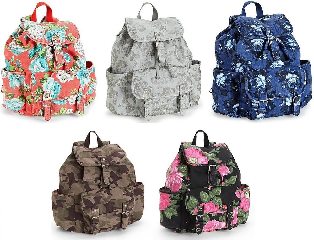 Backpack School Book Gym Shoulder Bag Handbag Canvas Camo & Floral