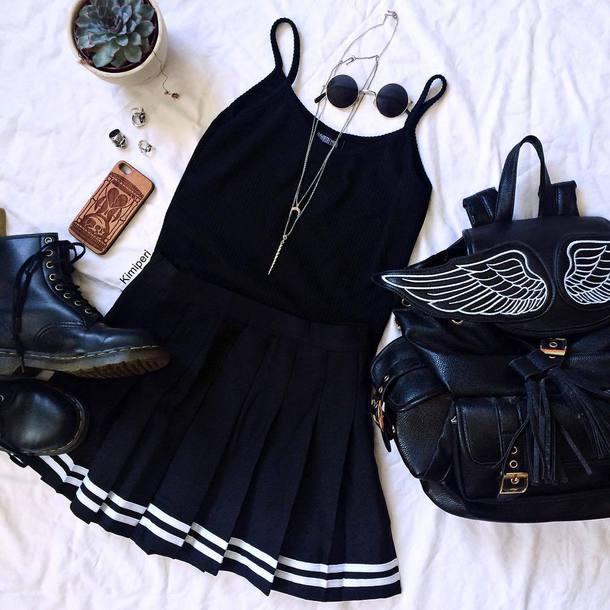 t-shirt boots shirt black japanese harajuku pastel goth kawaii nu goth goth grunge tumblr skirt cute