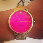 jewels,gold watch,pink watch,pink and gold,luxury,kate spade