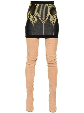 skirt mini skirt mini knit jacquard gold black