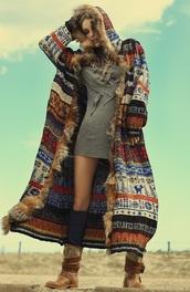 jacket,cardigan,hoodie,coat,colorful patterns,fur,longcoat,aztec,faux fur coat,boho,hippie,sweater,bohemiskt,bohemian,colorful,long sweater,pattern,boho winter,gypsy,winter outfits,winter coat,hippy chic,long coat,tribal pattern,tribal cardigan,tribal sweater,duster,aztec sweater
