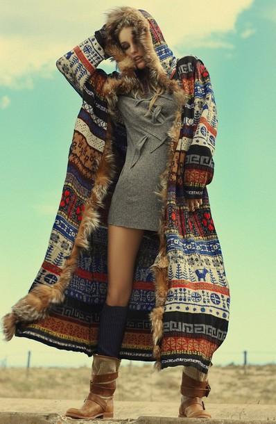 Jacket Cardigan Hoodie Coat Colorful Patterns Fur