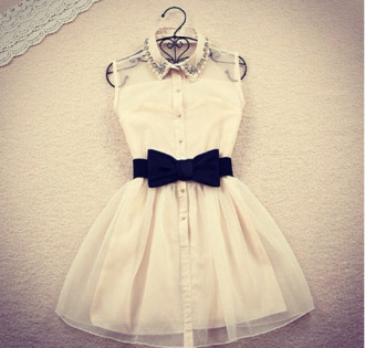 collared dress bow dress cocktail dress preppy black and white dress button up cream cute dress beige dress
